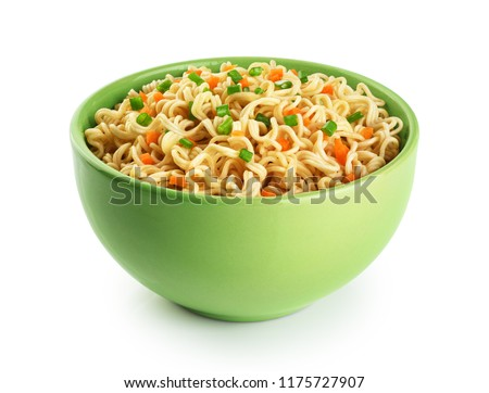 Bowl of instant noodles isolated on white background. With clipping path. #1175727907