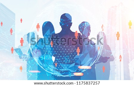 Silhouettes of diverse business team members standing together. Cityscape, hr peopel network and earth. Global world concept. Toned image double exposure Elements of this image furnished by NASA #1175837257