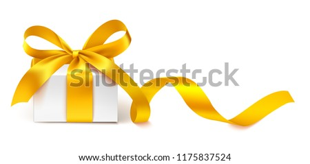 Decorative white gift box with golden bow and long ribbon isolated on white background. Vector illustration. Holiday decoration for your design #1175837524
