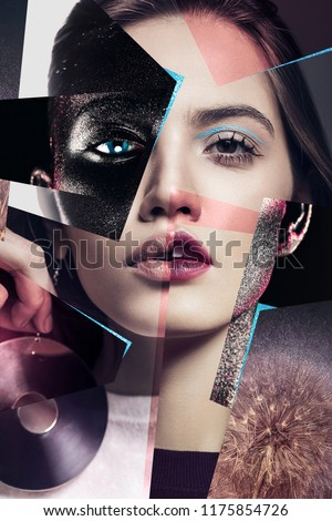 Idea, fashion, make up. Composition of women portraits with large earrings and body art #1175854726