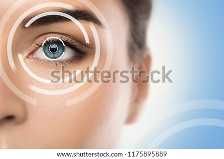 Close-up of female eye. Concepts of laser eye surgery or visual acuity check-up #1175895889