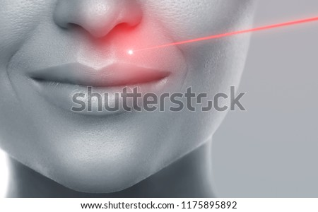 Concept of laser hair removal or skin rejuvenation Royalty-Free Stock Photo #1175895892