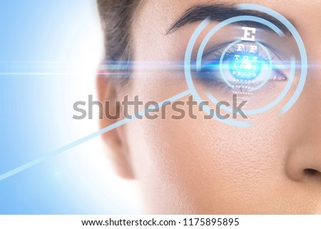 Close-up of female eye. Concepts of laser eye surgery or visual acuity check-up #1175895895