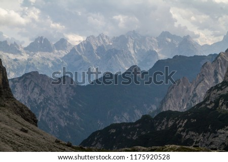 Tre Cime and Monte Paterno in Dolomites #1175920528