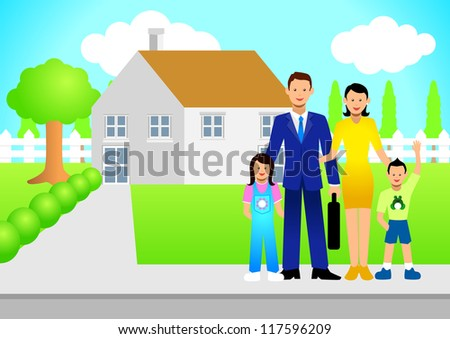 Illustration of a family in front of the house