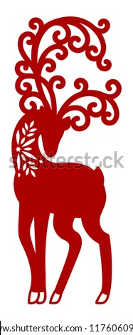 Christmas deer laser cut card. New Year elegant winter reindeer lace decoration. Paper cutout decor. Wood carving template. Die cut vector silhouette.