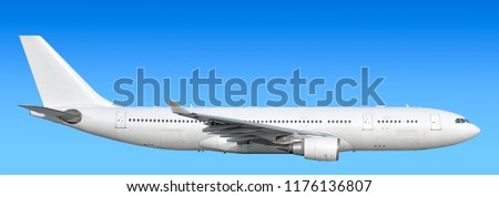 Large heavy modern wide body passenger twin jet engine airplane flying side panoramic detailed close up exterior view reference isolated on blue sky background air travel transportation theme #1176136807