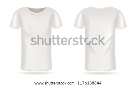 Template vector white t-shirt front and back view #1176138844