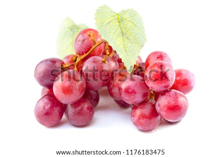 Ripe red grape on white background #1176183475