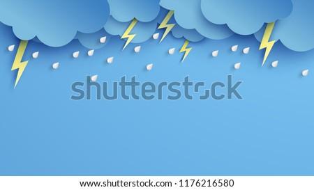 Illustration of Cloud and rain on blue background. heavy rain, rainy season, Overcast sky and lightning in the rainy season. paper cut and craft style. vector, illustration.