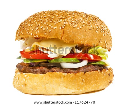 Tasty burger with vegetables isolated on white #117624778