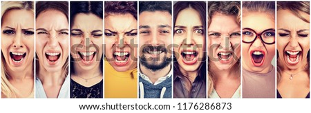 Multiethnic group of frustrated, desperate, stressed angry women and a happy smiling beard man. Positive thinking ina relationship concept #1176286873