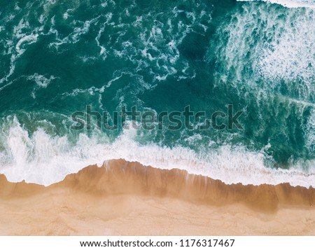Aerial view to Beach on the Atlantic Ocean near Seignosse (France) Royalty-Free Stock Photo #1176317467