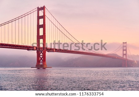 Golden Gate Bridge view from Fort Point at sunrise, San Francisco, California, USA #1176333754