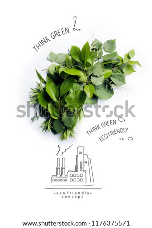 Environmentally friendly planet.Symbolic ecologycaly clean air cloud, made of green leaves and grass with hand drawn cartoon sketch of eco factory. Ecology industry and alternative energy concept.   #1176375571