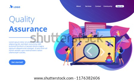 People catching bugs on the laptop screen with angle brackets. IT software application testing, quality assurance, QA team and bug fixing concept. Violet palette. Website landing web page template. #1176382606