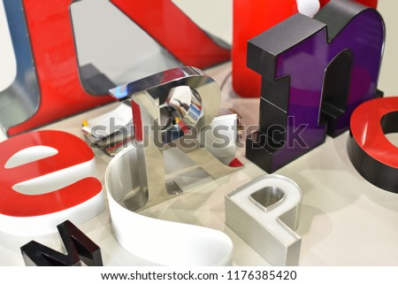 example production metal letters on different form and colors #1176385420