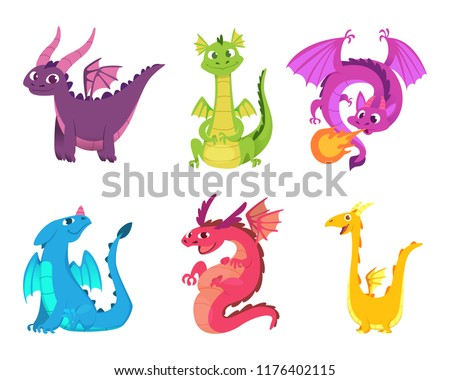Cute dragons. Fairytale amphibians and reptiles with wings and teeth medieval fantasy wild creatures vector characters. Illustration of fantasy animal character, reptile mythology