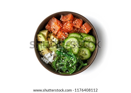 poke bowl with salmon islated on white background. top view #1176408112
