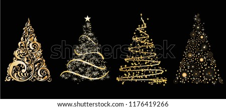 set of gold vector stylized Christmas tree on black background