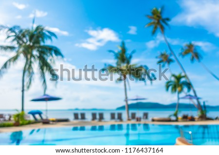 Abstract blur and defocused outdoor swimming pool in luxury hotel and resort for holiday travel and vacation #1176437164