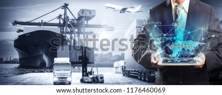 World map with logistic network distribution, Logistic and transport concept in front Industrial Container Cargo freight ship for Concept of fast or instant shipping, Online goods orders worldwide #1176460069