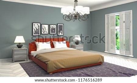 Bedroom interior. 3d illustration #1176516289
