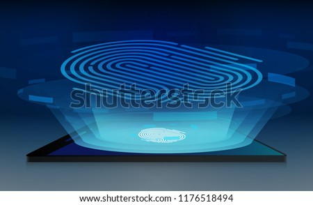 Finger scan Smartphone Touchscreen mobile phone glows and Personal data protection., Antivirus. isometric flat design. Vector illustration.  #1176518494