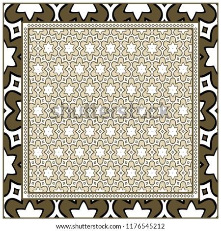 Decorative ornament with geometric decoration. symmetric pattern . For print Bandanna, shawl, tablecloth, fabric fashion, scarf, design. #1176545212