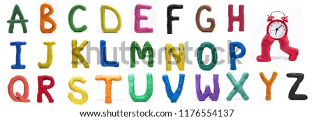 Latin Alphabet made from Play Clay. High quality photo.