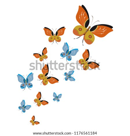color beautiful butterflies, isolated on a white #1176561184