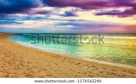 Seaview at sunset. Amazing landscape. Beautiful beach of Mauritius. Panorama #1176562246