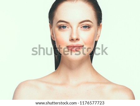 Beautiful skin woman with healthy hair and beauty eyes lashes and lips #1176577723