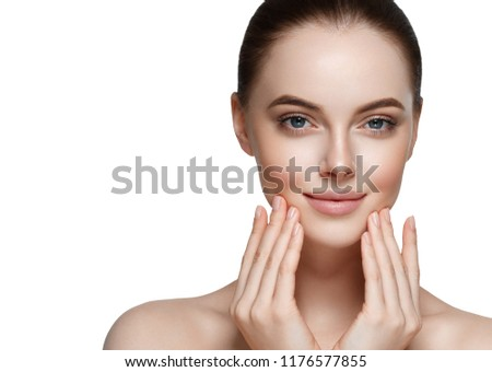 Beautiful skin woman with healthy hair and beauty eyes lashes and lips #1176577855