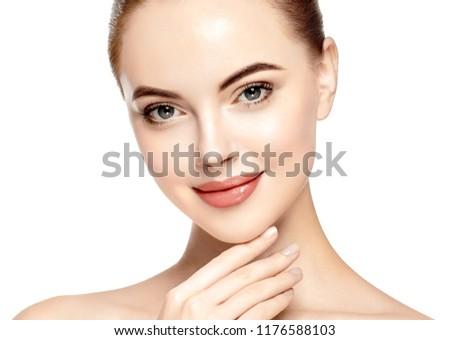 Beautiful woman skon face closeup beautiful female young model cosmetic concept #1176588103
