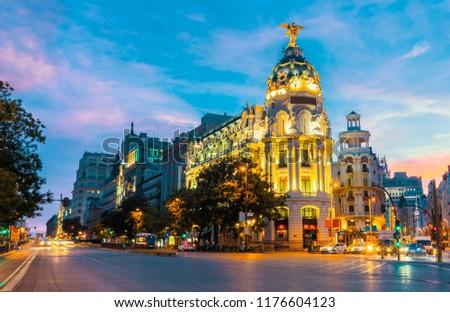 Madrid city skyline gran via street twilight , Spain  #1176604123
