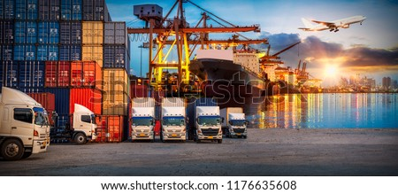 Logistics and transportation of Container Cargo ship and Cargo plane with working crane bridge in shipyard at sunrise, logistic import export and transport industry background #1176635608