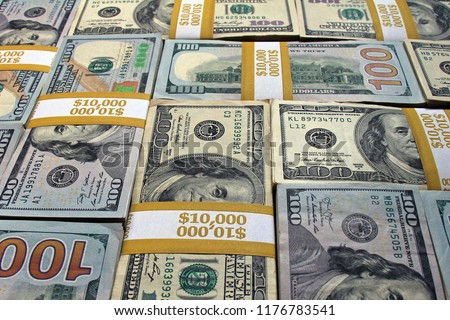 Stacks of dollars as a background. Cash stacks mosaic background. Money stacks background image. Piles of cash as a perfect background. #1176783541