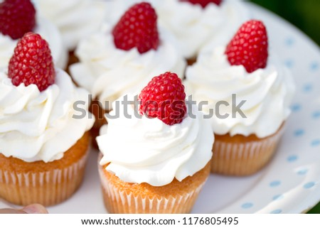 home made delicious cupcakes with creamchees and raspberries on top / family life concept #1176805495