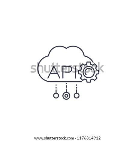 Cloud API, software integration line icon