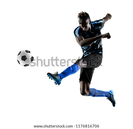 one african soccer player man playing in studio isolated on white background #1176816706