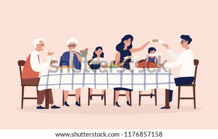Happy people sitting at table, eating holiday meals, drinking wine and talking to each other. Family Christmas or Thanksgiving dinner or supper. Colorful vector illustration in flat cartoon style. Royalty-Free Stock Photo #1176857158