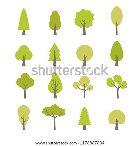 Flat trees set. Flat forest tree nature plant isolated eco foliage. Royalty-Free Stock Photo #1176867634