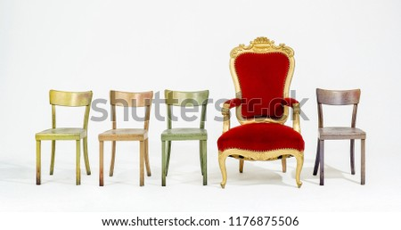 Four chairs and one red throne. #1176875506