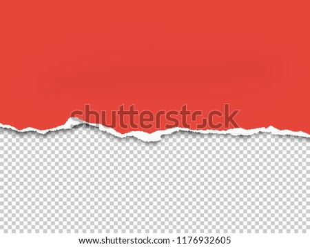 Torn a half sheet of red paper from the bottom. Vector template paper design. Royalty-Free Stock Photo #1176932605