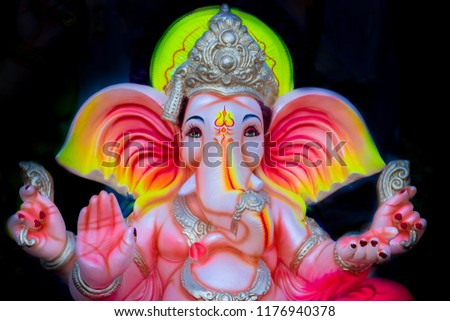 Idol of Hindu elephant-headed god Ganesh at a workshop in Hyderabad, India on September 10, 2018. The 10 day-long Ganesh festival which begins on Sep 13, 2018   #1176940378