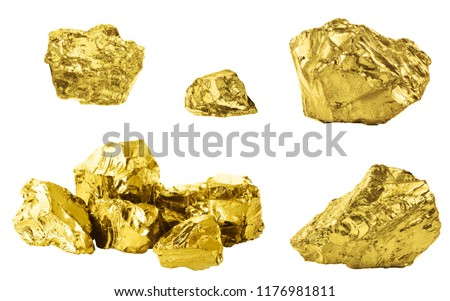 Set of golden nuggets isolated on white background. Different bars of gold isolated on white background #1176981811