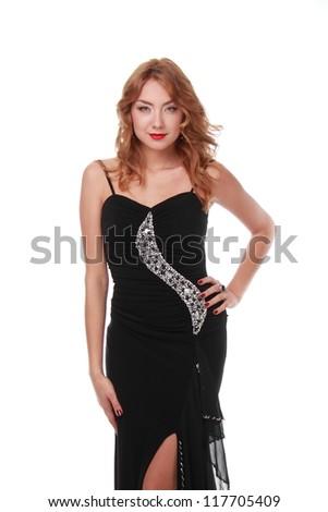 Sexy girl is wearing black dress #117705409
