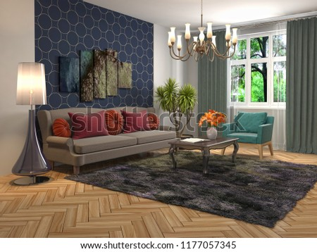 Interior of the living room. 3D illustration #1177057345