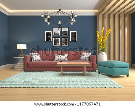 Interior of the living room. 3D illustration #1177057471